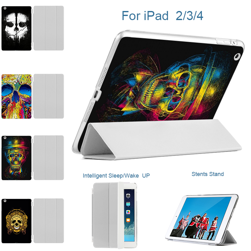 MTT Case for iPad 3 4 9.7 3D Printed Matte Transparent Back Skeleton PU Ultra Slim Trifold Smart Cover for iPad 2/3/4 Case