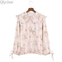 Qlychee Цветочный принт Питер Пэн воротник с рюшами Топы корректирующие Для женщин женские Демисезонный корейский стиль милые футболки