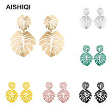 New Vintage Punk Indian Bohemian BOHO Korean Kpop Big Leaf Eardrop Statement Dangle Earrings for Women