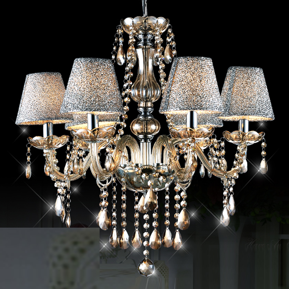 Mamei free shipping modern 6 lights amber crystal chandelier lighting fixtures with lamp shade for dinning room and bedroom