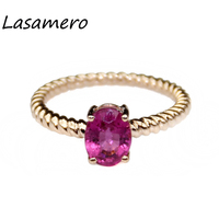 LASAMERO Ring For Women 1 8CT Round Cut Ring Natural Tourmaline Ring Accents 18k Gold Engagement