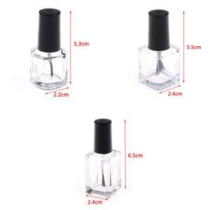 Image 5 - 1pc 5 ml/10 ml/15 ml שקוף זכוכית לק בקבוק ריק עם מכסה מברשת קוסמטי מכולות נייל בקבוקי זכוכית עם מברשת