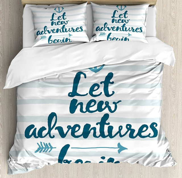 Adventure Duvet Cover Set Queen Size Nautical Stripes Anchor And Arrow Motivational Text Sea Travel Cruise