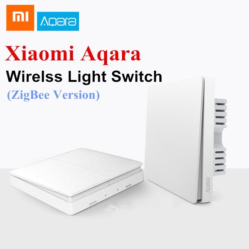 Xiaomi Aqara Wall Switch Smart Light Switch Control ZigBee Version Wireless Connection Single Double Key Smart Remote Control xiaomi aqara smart light control fire wire и zero line single key version