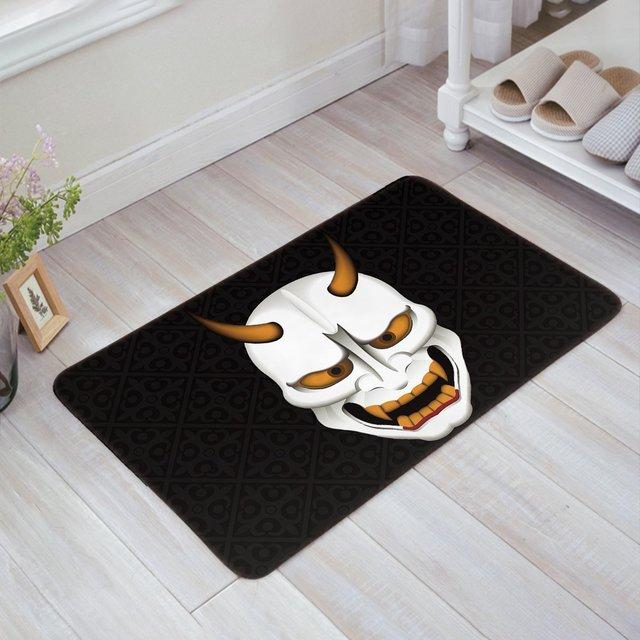 Halloween Theme Scary Mask Black Doormat Entrance Mat Indoor/Outdoor ...