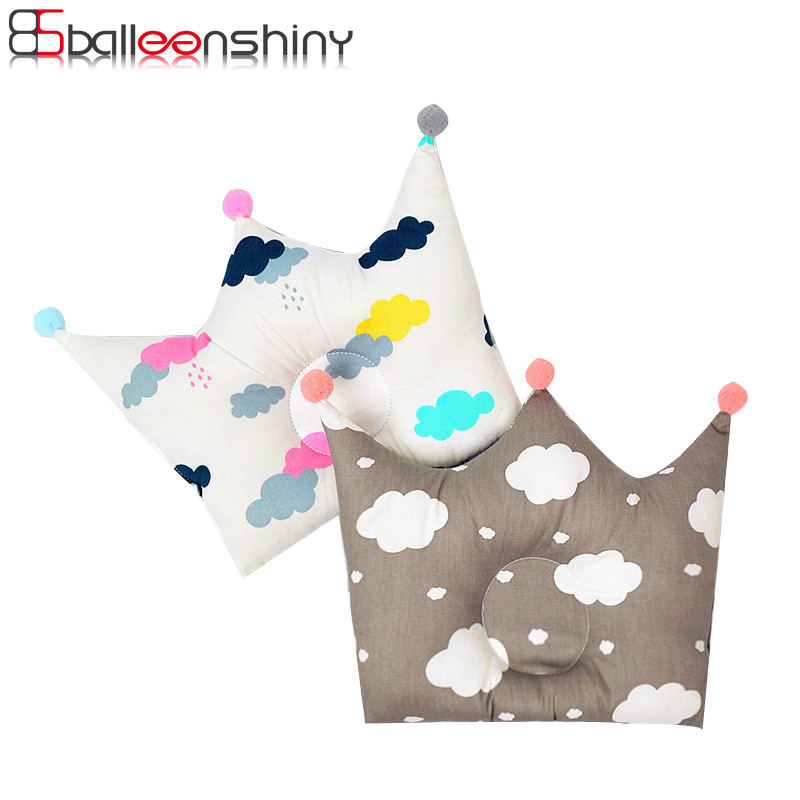 BalleenShiny Baby Pillow Crown Newborn Cartoon Soft Comfortable Cushion Head Protection Shaping Pillow Bedding Decoration Gift