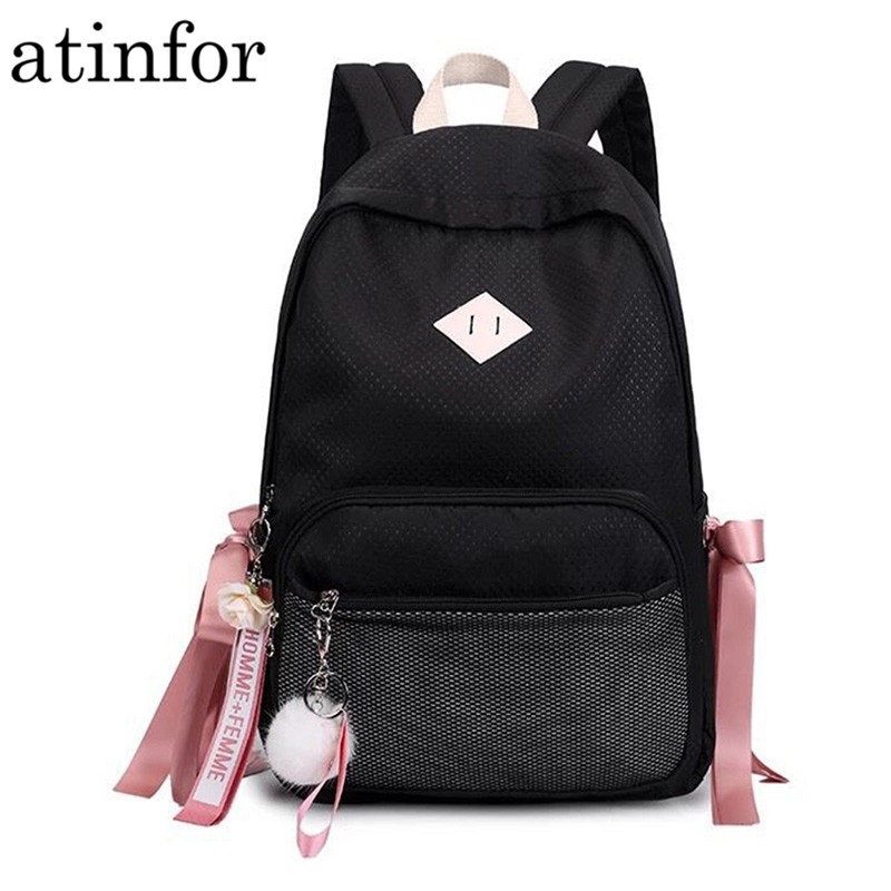92a74ceed87b US $18.53 45% OFF|Hair Ball with Ribbon Backpack Women Mesh Pocket Laptop  Rucksack Fashion Waterproof Cute School Bag for Teenage Girls-in Backpacks  ...
