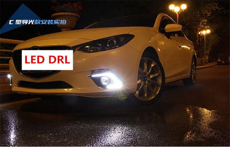 Car Styling Car LED DRL daytime running lights with fog lamp holefog light For Mazda 3 axela 2014 2015 201612V 2pcs per set for lexus rx gyl1 ggl15 agl10 450h awd 350 awd 2008 2013 car styling led fog lights high brightness fog lamps 1set