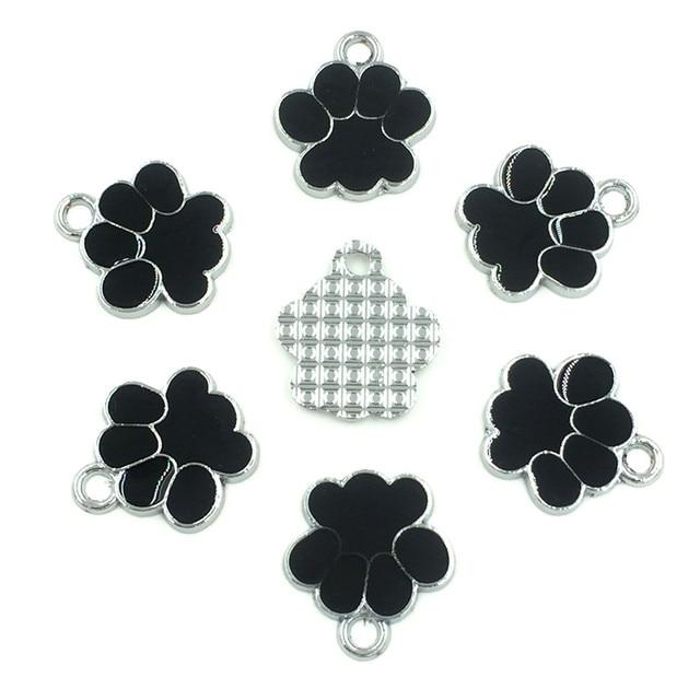 30Pcs Silver Tone Bear's Pat Enamel Black Ours Patte Charms Pendants Jewelry Findings 19x17mm 1