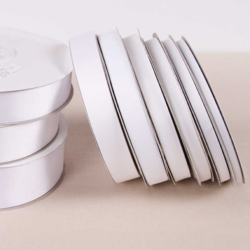 "White Color Grosgrain Ribbon Polyester 1/8"" 1/4"" 3/8""1/2"" 5/8"" 3/4"" 7/8"" 1"" 1-1/2"" 2""3"" 4"" 3mm 6mm 9mm 19mm 22mm 25mm 38mm"