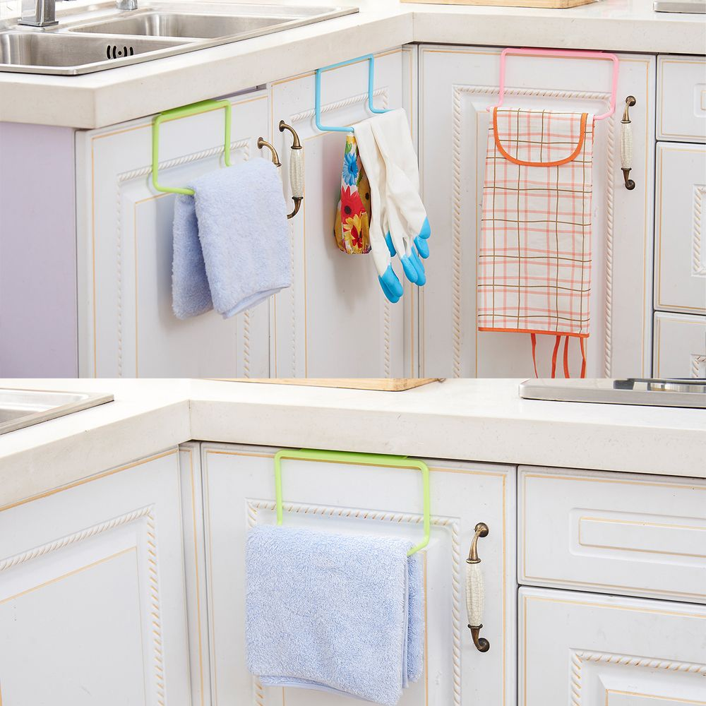 Us 1 15 1pc Over Door Tea Towel Holder Rack Rail Cupboard Hanger Bar Hook Bathroom Kitchen Top Home Organization Candy Colors In Storage Holders