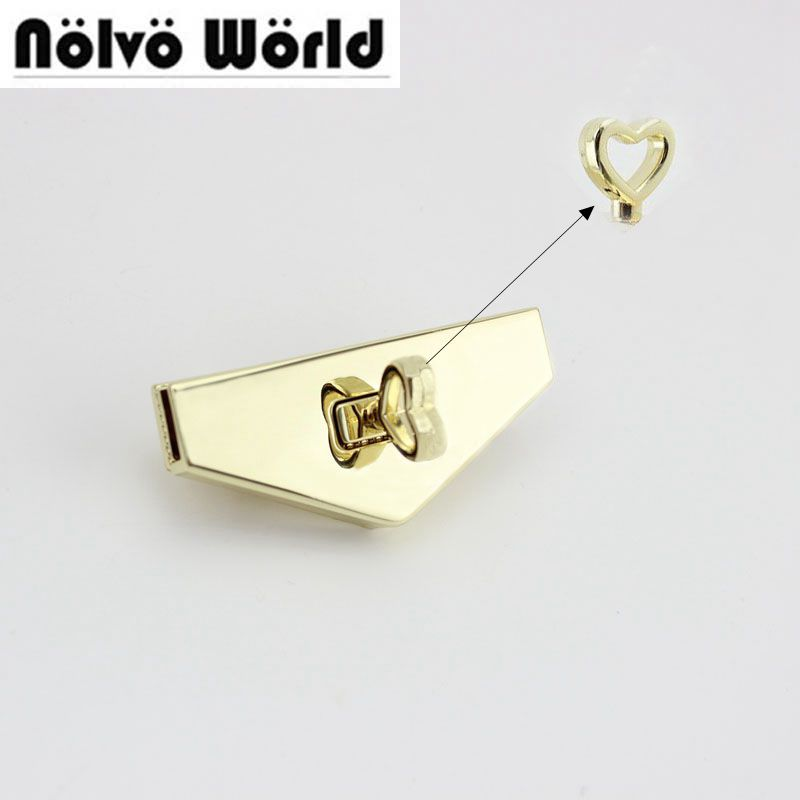 15sets 65*27mm Triangle Love Fashion Lock Push Lock Genuine Leather  Bags Parts Hardware Accessories Factory