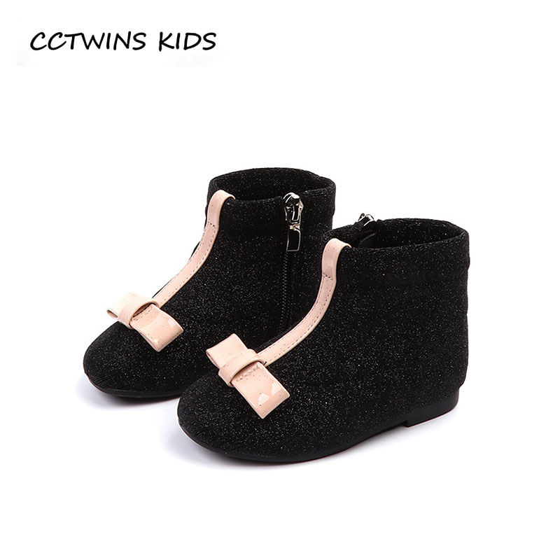 CCTWINS KIDS 2018 Autumn Baby Girl Glitter Soft Shoe Toddler Brand Butterfly Ankle Boot Children Fashion Black Boot CF1505 cctwins kids 2018 autumn baby boy fashion black boot children genuine leather shoe girl brand ankle boot toddler cf1505