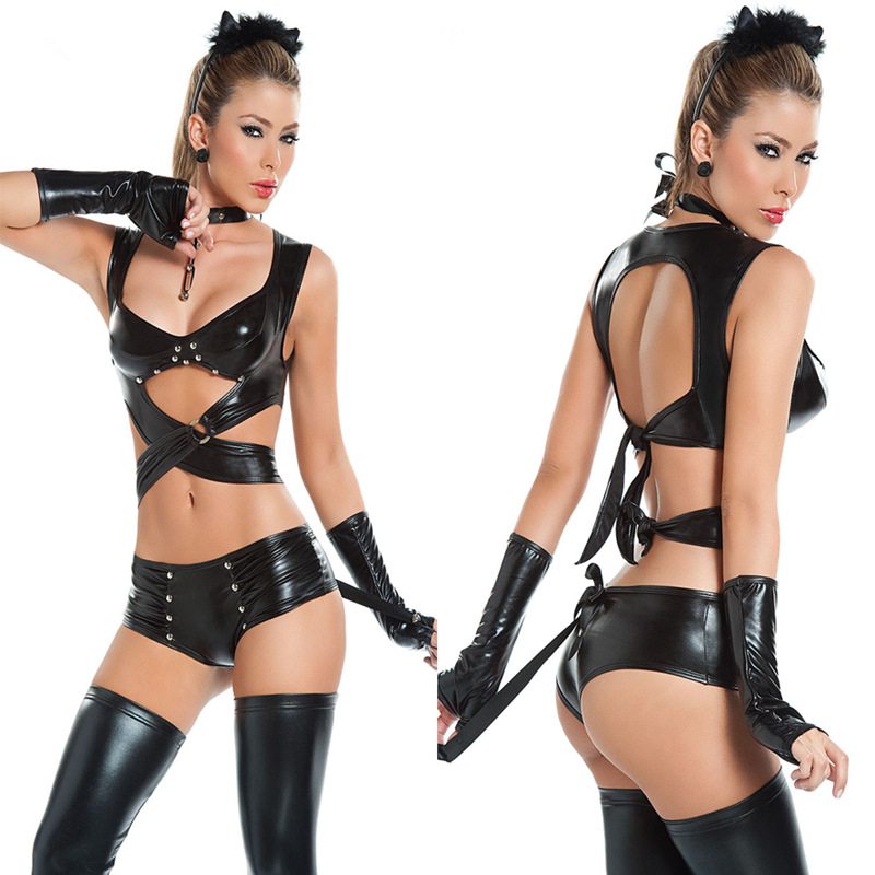Women <font><b>Sexy</b></font> Lingerie Imitation Leather latex <font><b>Cat</b></font> Women <font><b>Cosplay</b></font> Club Evening Party Wear Halloween catwoman Costumes adults image