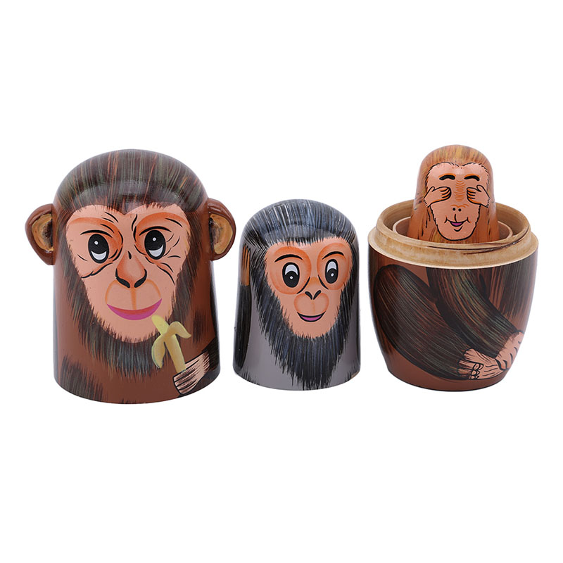 Toys & Hobbies Dolls 5 Pcs/set Hot Sale Children Toys Wooden Matryoshka Dolls Nesting Dolls Cute Animal Monkey Gift Traditional Unisex New With The Most Up-To-Date Equipment And Techniques