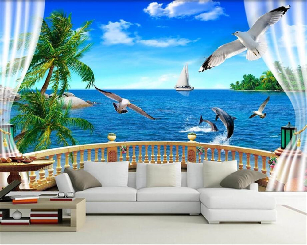 Beibehang Custom Photo Wall Mural 3d Wallpaper Luxury: Beibehang 3D Custom Wallpaper Mural Photo Balcony Seascape