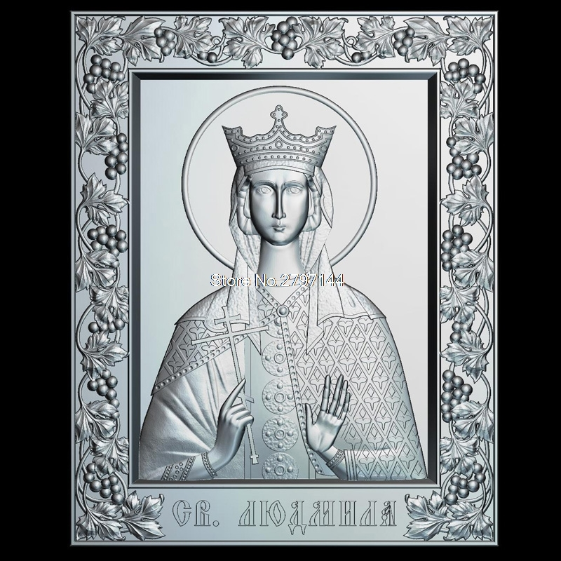 Icon of the Holy Martyr Ludmilla 3d model for cnc STL format Religion 3d Relief Model STL Router 3 axis Engraver ArtCam holy prince dimitry donskoy 3d model relief figure stl format religion 3d model relief for cnc in stl file format