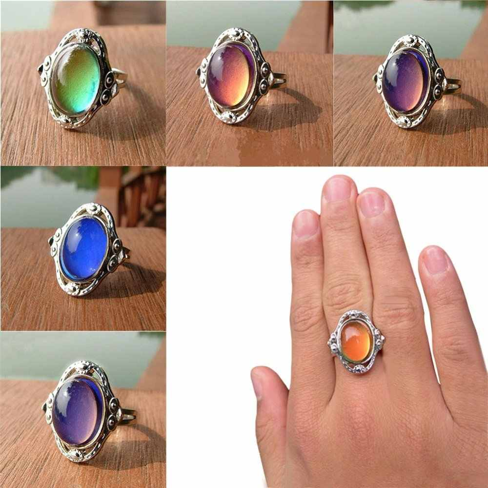 Mother's Day Gift Moon Stone Ring Moood Ring Creative Temperature Chnage Color Rings For Women