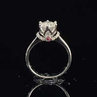 Pure 18K White Gold 1ct 2ct 3ct Moissanite Ring Crown Diamond Ring Purple jewelry Wedding Party Anniversary Ring