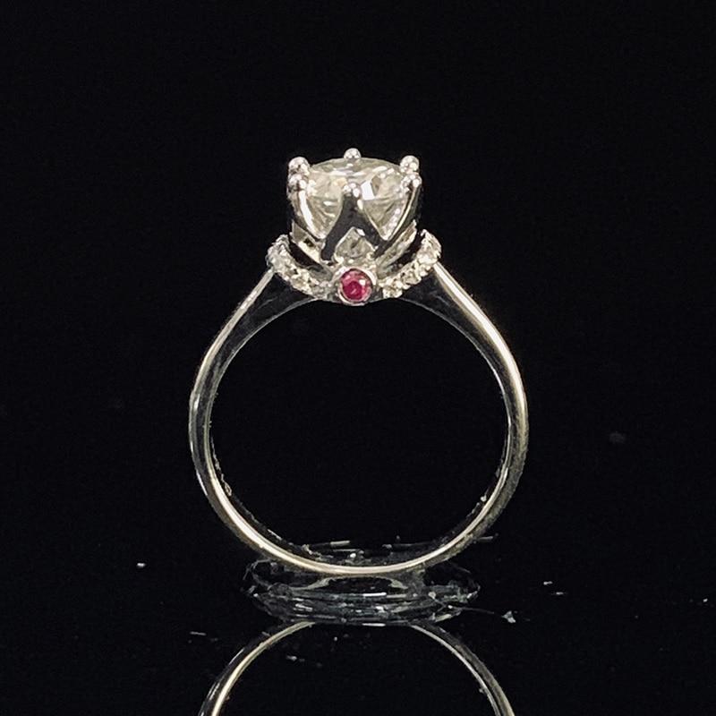 Puro oro blanco 18K 1ct 2ct 3ct Moissanite anillo corona diamante anillo púrpura joyería boda fiesta aniversario anillo-in Anillos from Joyería y accesorios    1