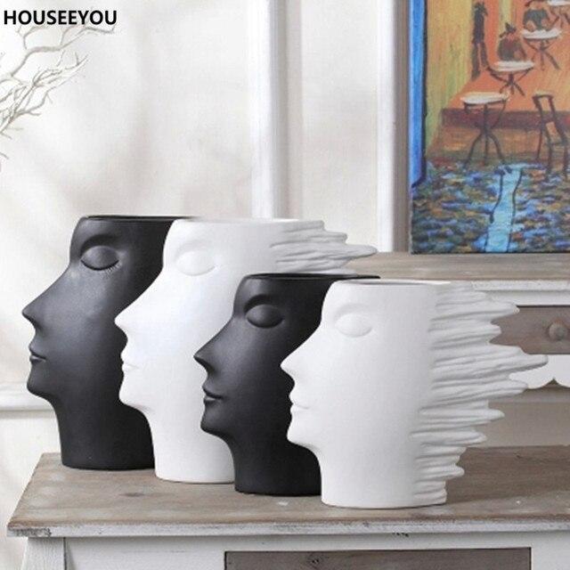 Moderne Accessoires moderne minimaliste blanc noir fleur vases accessoires pour la