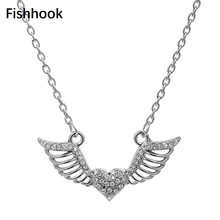 Fishhook Necklaces Angel Wings heart choker Necklaces For Women OL Style Necklace&Pendants High Quality Jewelry(China)