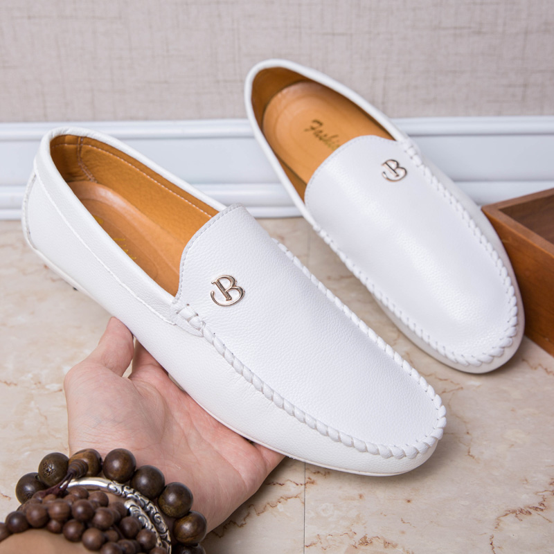 Mens Loafers Leather White Casual Car Driving Shoes PU Men Flats 2019 Loafer Luxury Brand Man Slip On Shoes Male Chaussure Homme