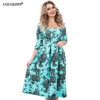 New 5xl 6xl Plus Size Print Dress Spring Summer Women Clothing 2018 Vintage Floral Print Big