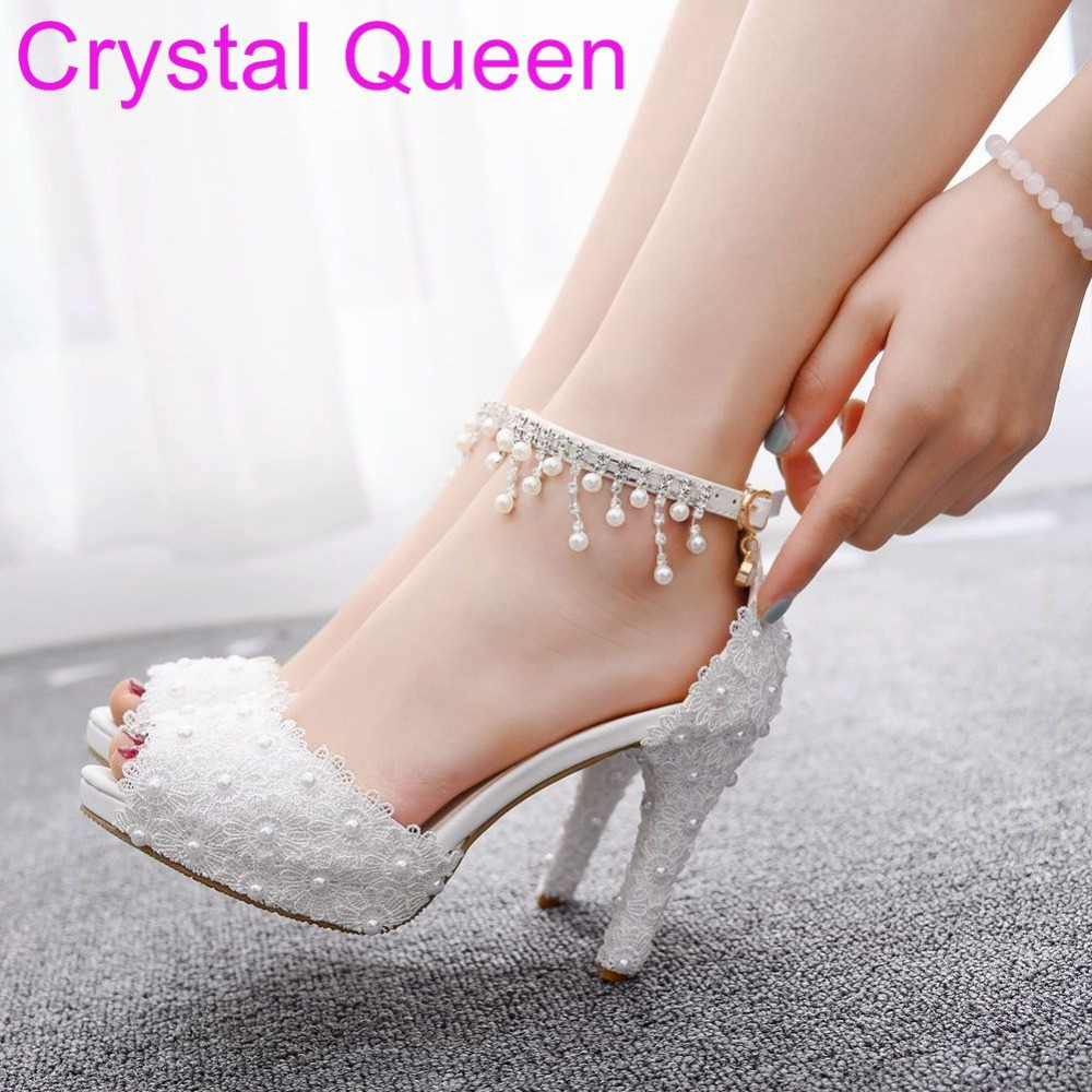Crystal Queen White Lace Wedding Sandals Peep Toe Platform Sandals High Heel Shoes Pumps Tassel Beading