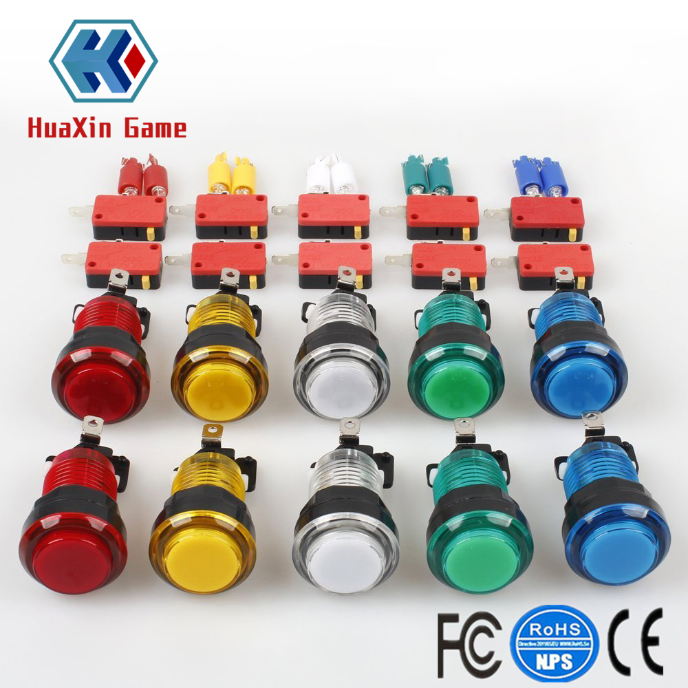 10x New 12V Transparent Glow Arcade Buttons With Micro Switch For Jamma Mame Games Parts Multicade Choice Of 5 Colour