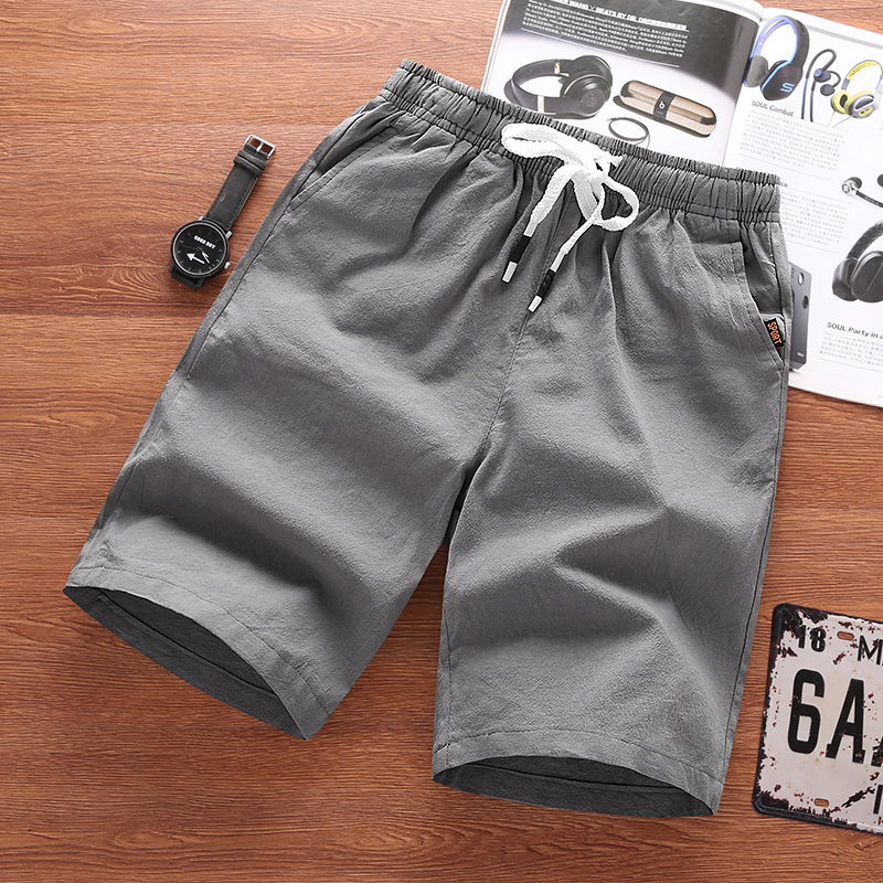 2019 Men's Summer Leisure Short Pure Color Loose Comfortable Male Five-cent Trousers Cotton Belted Beach Short Men Pants Bermuda