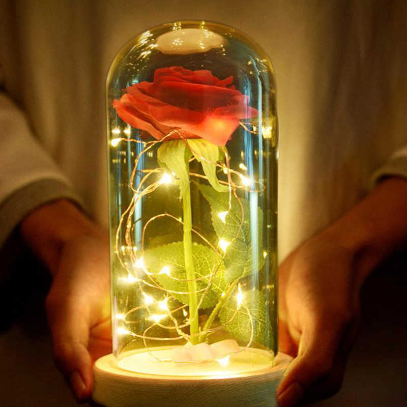 Artificial Red Rose Table Lamp LED Bedside Lamp Beauty Beast Table Light Wedding Anniversary Holiday Birthday Valentine's Gift
