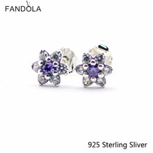 Zilver 925 Sterling Vergeet Me Niet, paars & Clear Cz Stud Earring Fit Voor Europa Style Sieraden Vrouwen Gift