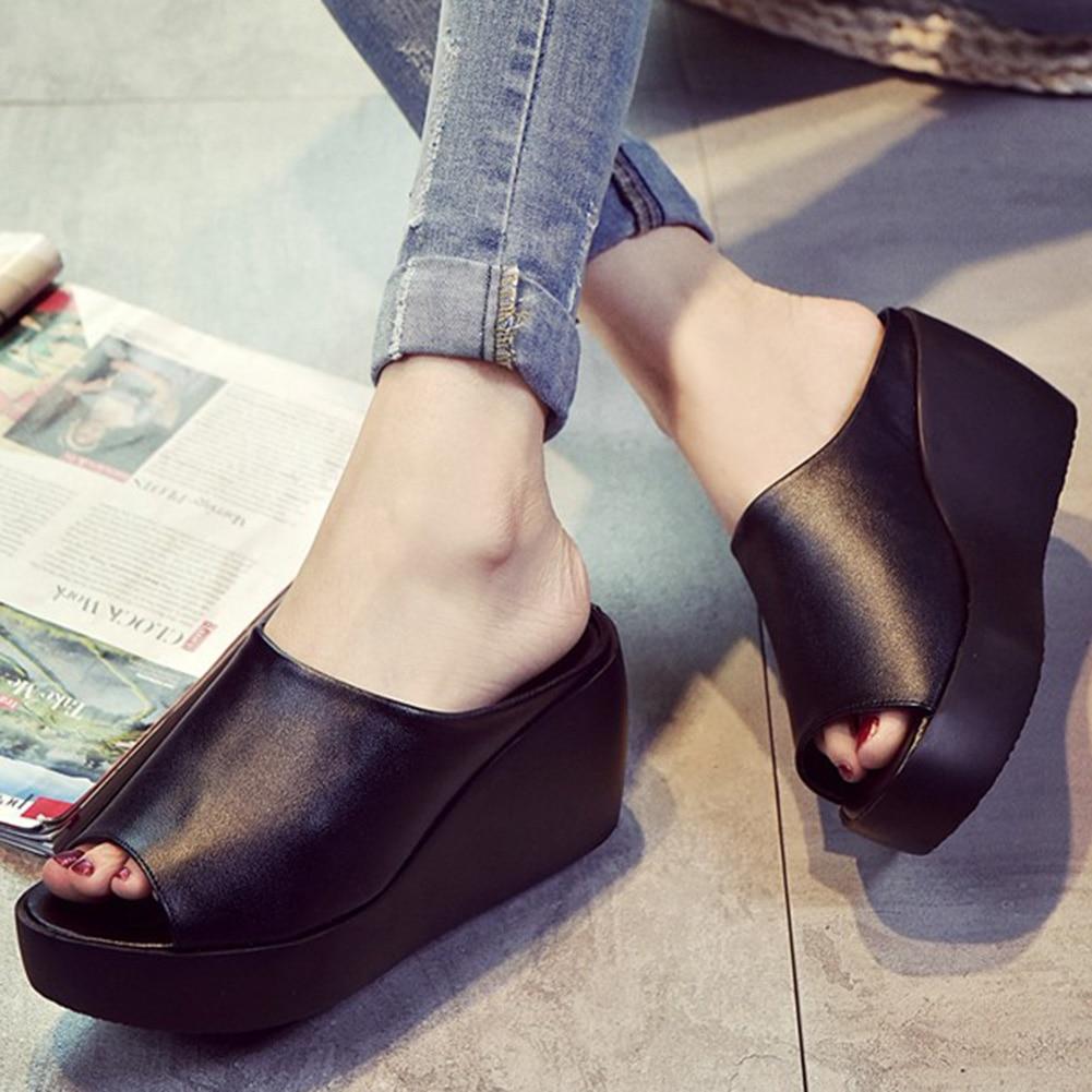 Closeout Deals·Women Sandals Slides-Shoes Wedge Platform Mules Open-Toe White Large-Size Black Summer