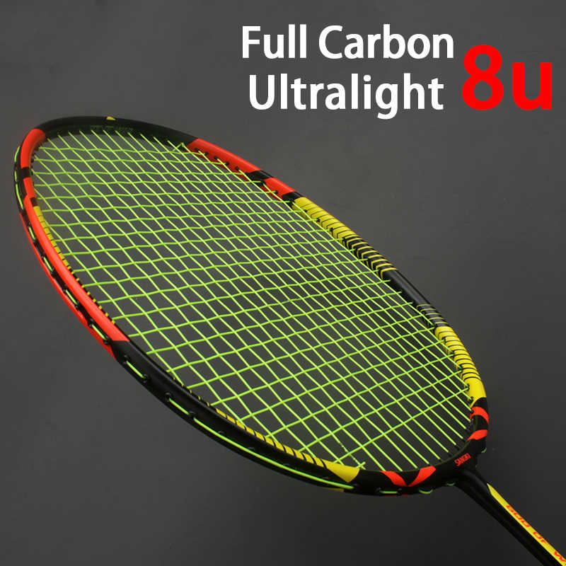 Professional Strung 8U Ultralight Full Carbon Fiber Badminton Rackets With Strings Bags Padel Racket Sports Raquetas