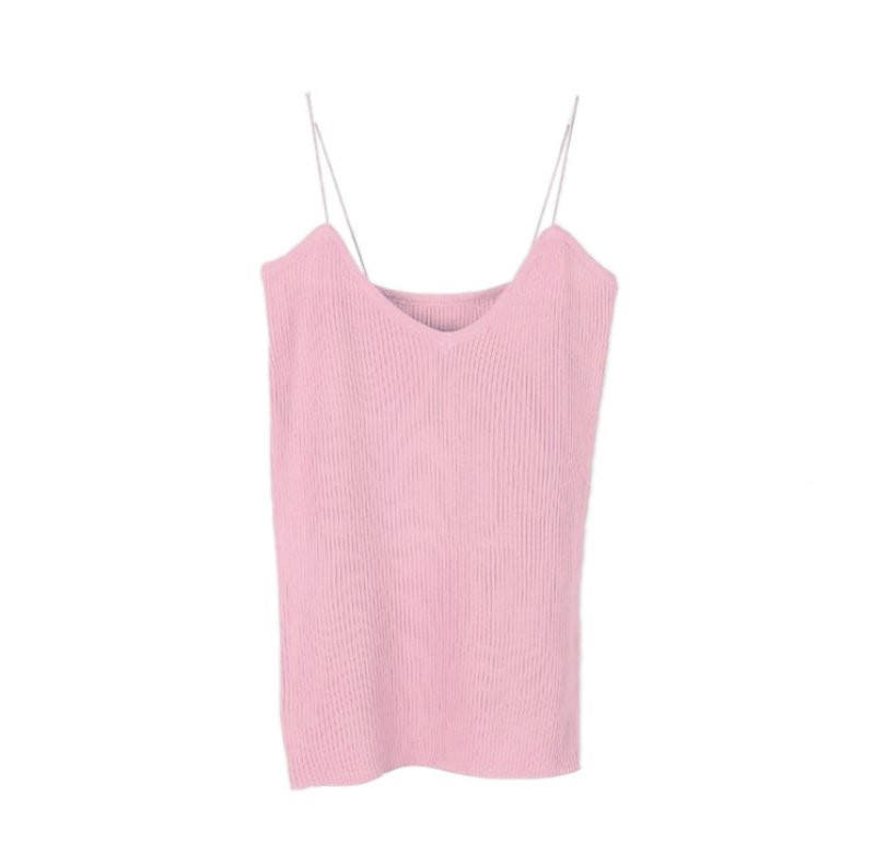 Summer Knit Tank Tops Women Camisole Vest Simple Stretchable V Neck Slim Sleeveless Sexy Straps Tank