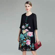 Women blouses  clothing 2017 traditional chinese dress elegant retro embroidery floral plus size black mesh shirt dress M-4XL