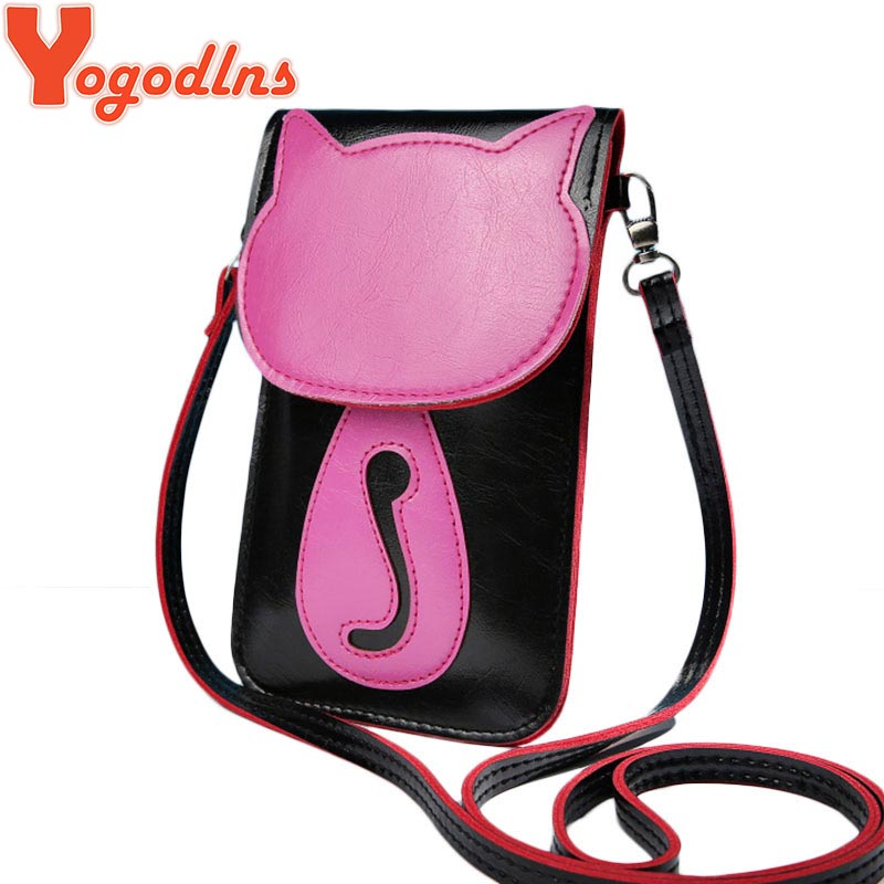 2017 Women Messenger Bags Lovely Umbrella Cute Cat Charcater Leather Small Crossbody Bag Fashion Casual Shoulder Phone Pouch