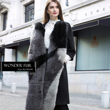 Morden Woolen Fur Dress Fancy Design Fox Fur Jacket For Fashion Lady Charm Woolen Coat Winter Warm Fox Fur Suit