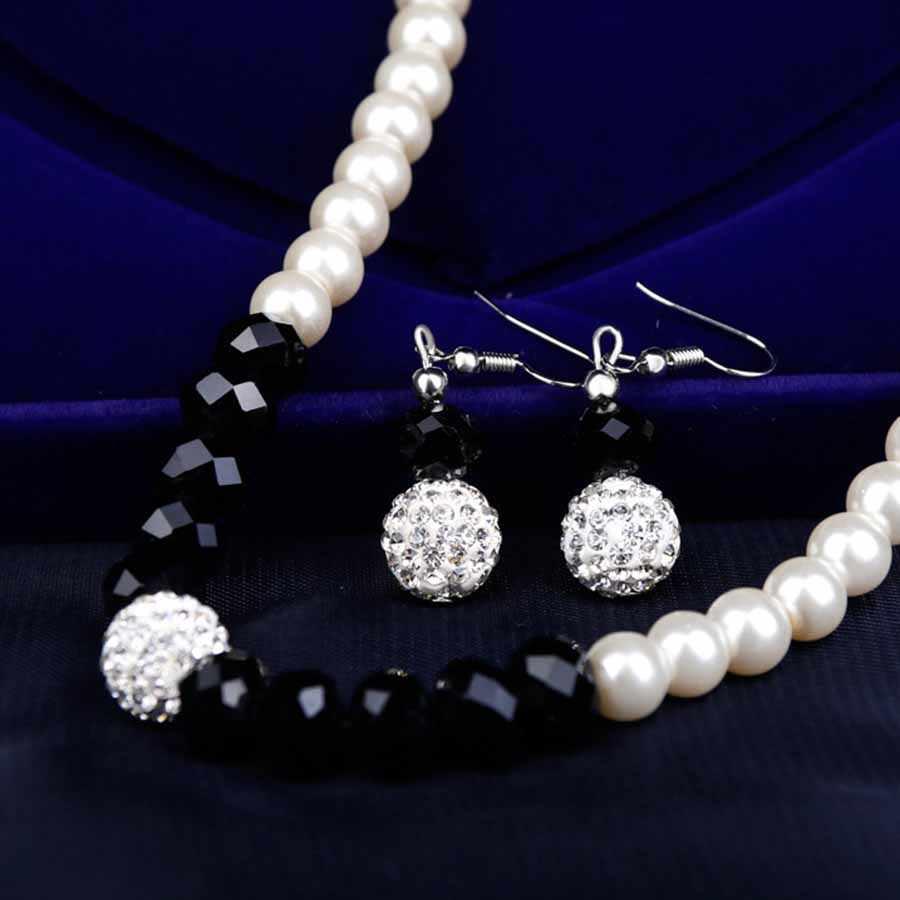 Simulado pérola conjuntos de jóias festa pérola brincos colar pulseira conjunto mulher brincos moda jóias contas africanas conjuntos de jóias