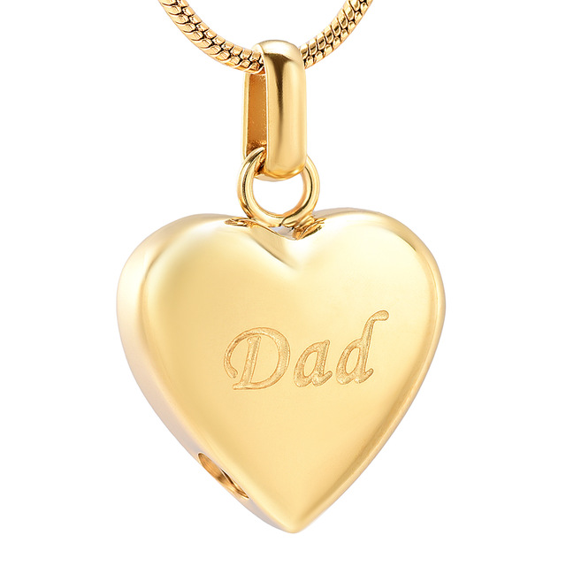 JJ8455 DAD In My Heart Cremation Urn Necklace For Ashes Of