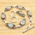 Love Gifts For Husband ! Silver Plated RAINBOW MOONSTONE LINK BRACELET 7 7/8""