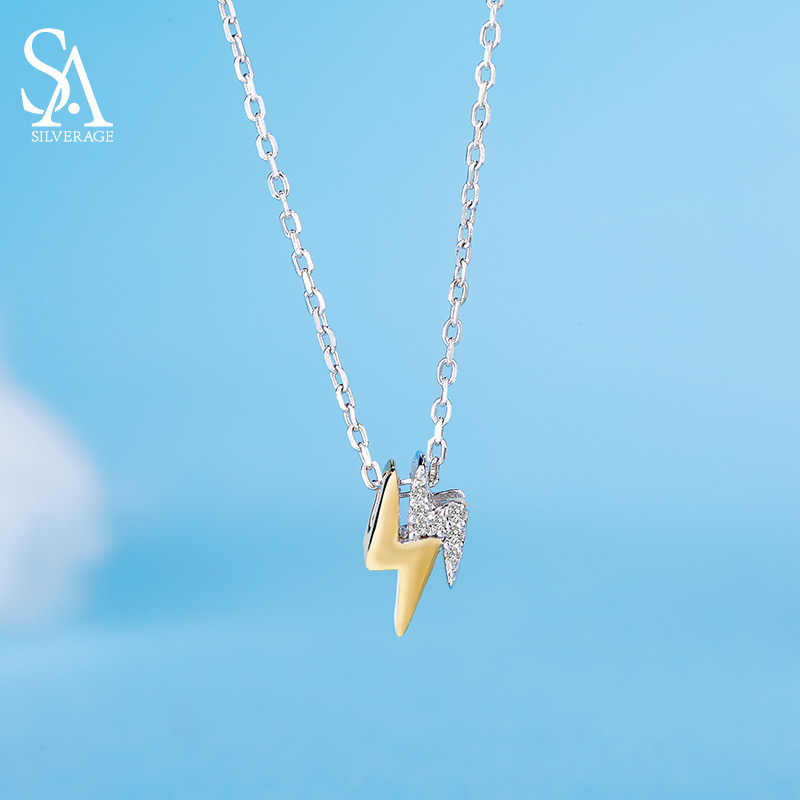SA SILVERAGE 100% 925 Sterling Silver City Sky Lightning Gold Color Chain Original Design Necklace & Pendant 2018 New Arrival