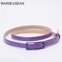 RAINIE SEAN Thin Leather Women Belt Pin Buckle For Dresses Ladies Purple Fashion Female Strap