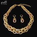 2016 nova alta qualidade itália 750 real banhado a ouro conjuntos de jóias de moda 18 k/rose/platinum big choker conjuntos de colar brincos de festa