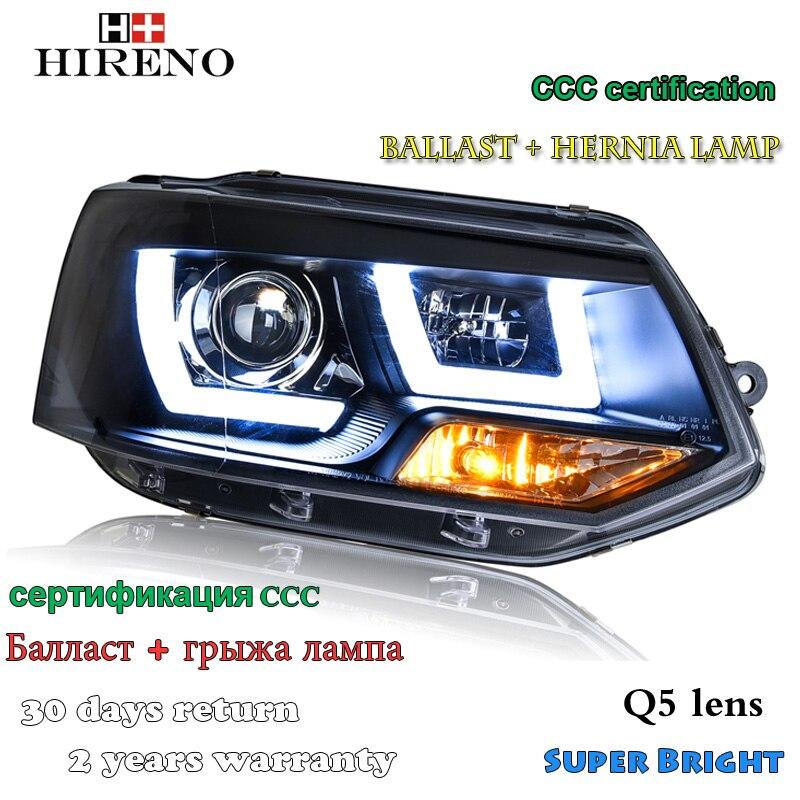 Hireno Car styling Headlamp for 2012-2016 Volkswagen Multivan T5 Headlight Assembly LED DRL Angel Lens Double Beam HID Xenon 2pc hireno headlamp for 2003 2006 volkswagen touran headlight assembly led drl angel lens double beam hid xenon 2pcs