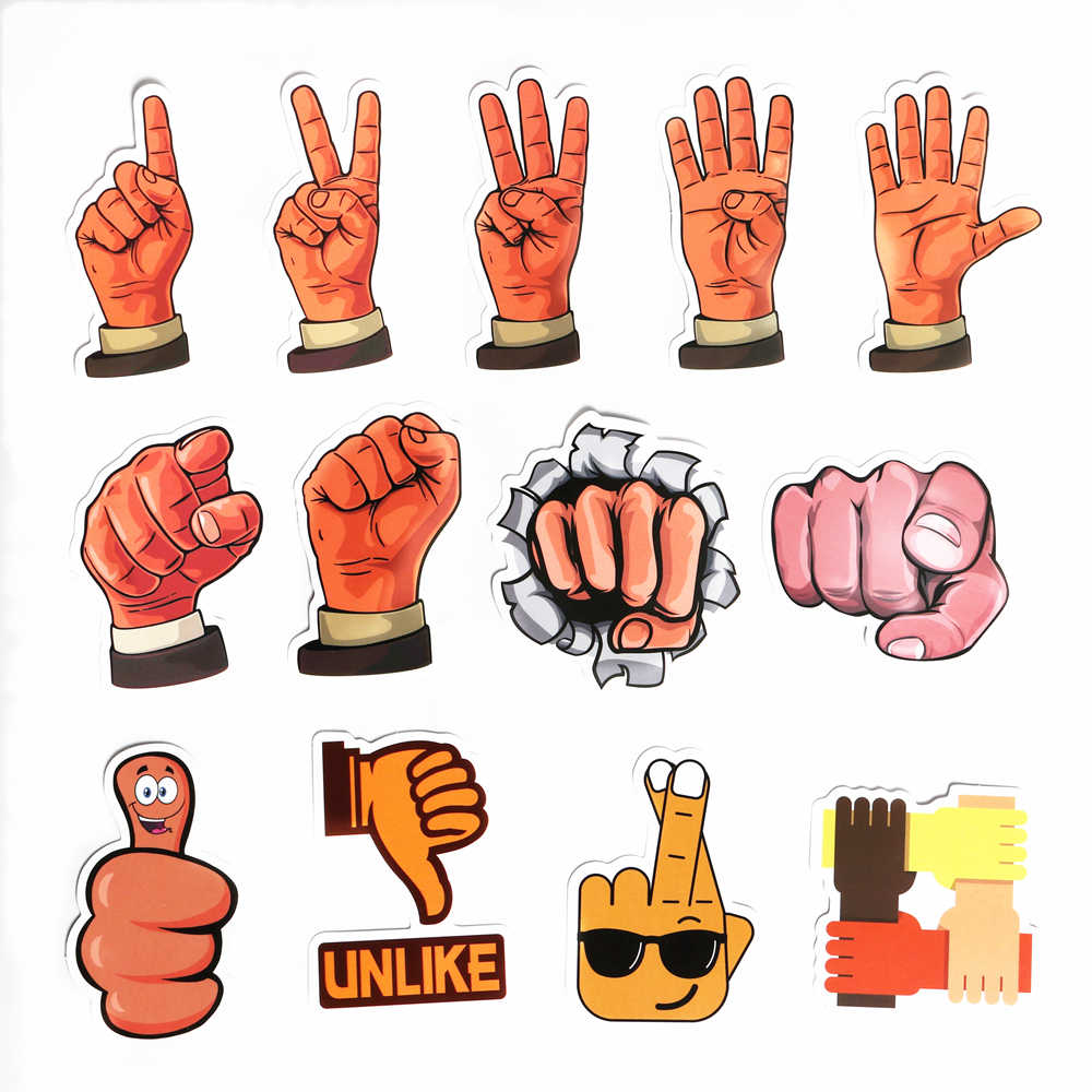 50PCS Gesture Stickers Cartoon hand in hand  Sign language love funny  bicycle stickers for PC Mobile phone decoration stickers