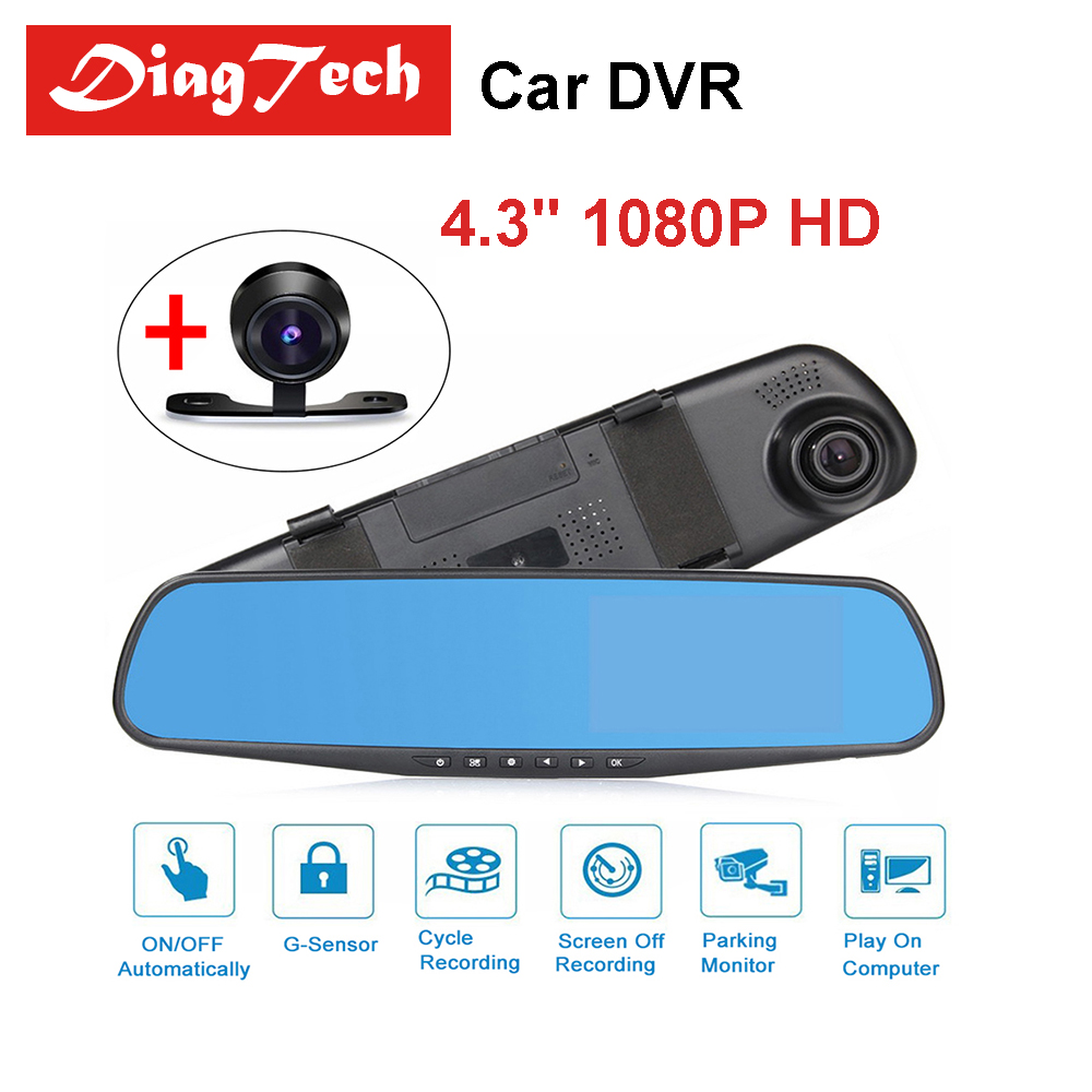 Universal 4.3 Inch Driving Recorder Camera 1080P HD Car DVR Camera Mirror Rearview Dual Lens Car Driving Video Recorder Camera
