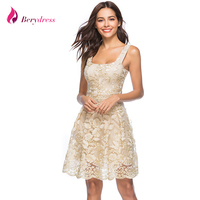 Berydress Elegant Party Dress Square Neck Sleeveless A Line Vestidos Embroidery Summer Cocktials Party Women Dresses
