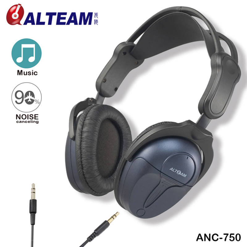 High Quality Wired 3.5mm Stereo Active Noise Cancelling Noise Isolating Noise Cancellation Headphone with Detachable Audio Cable